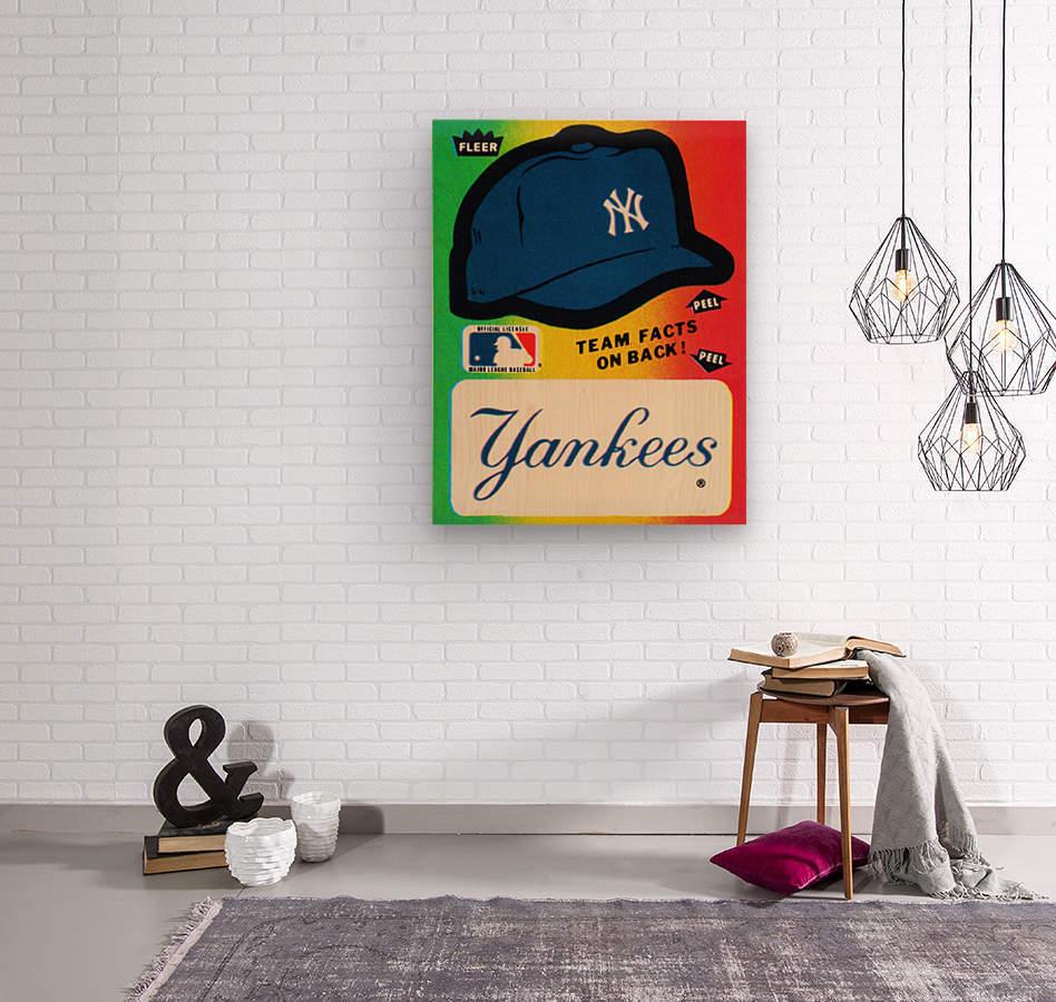 1982 fleer sticker new york yankees hat  Wood print