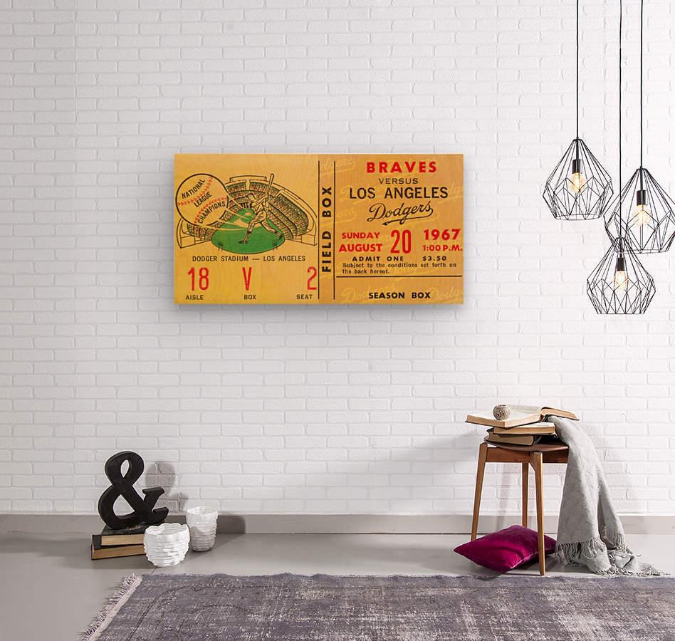 1967 LA Dodgers vs. Atlanta Braves Baseball Ticket Canvas  Wood print
