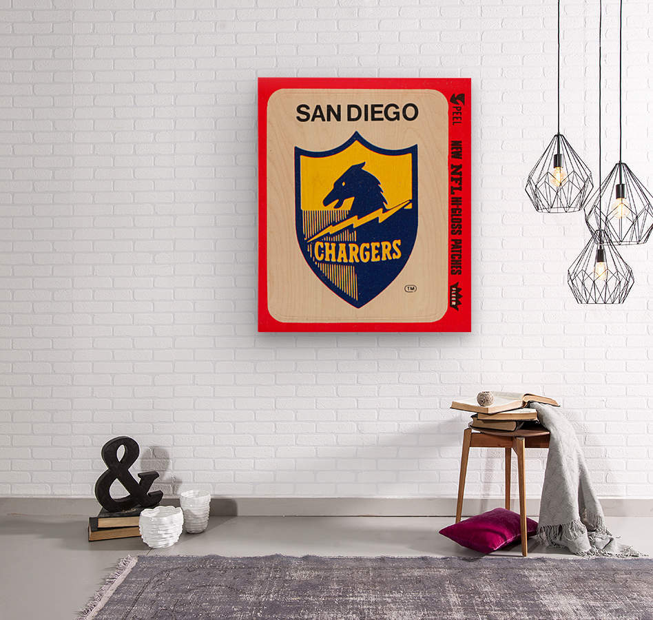 1981 fleer nfl high gloss patch san diego chargers sticker reproduction poster  Wood print