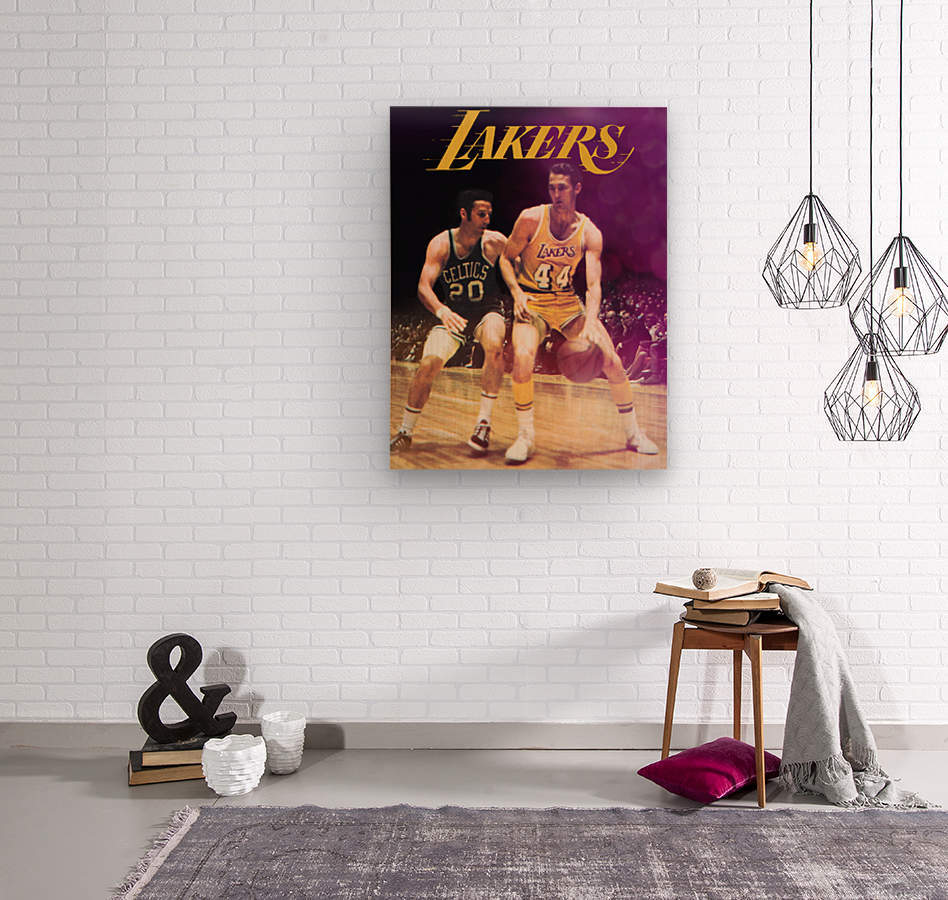 1969 los angeles la lakers jerry west poster  Wood print
