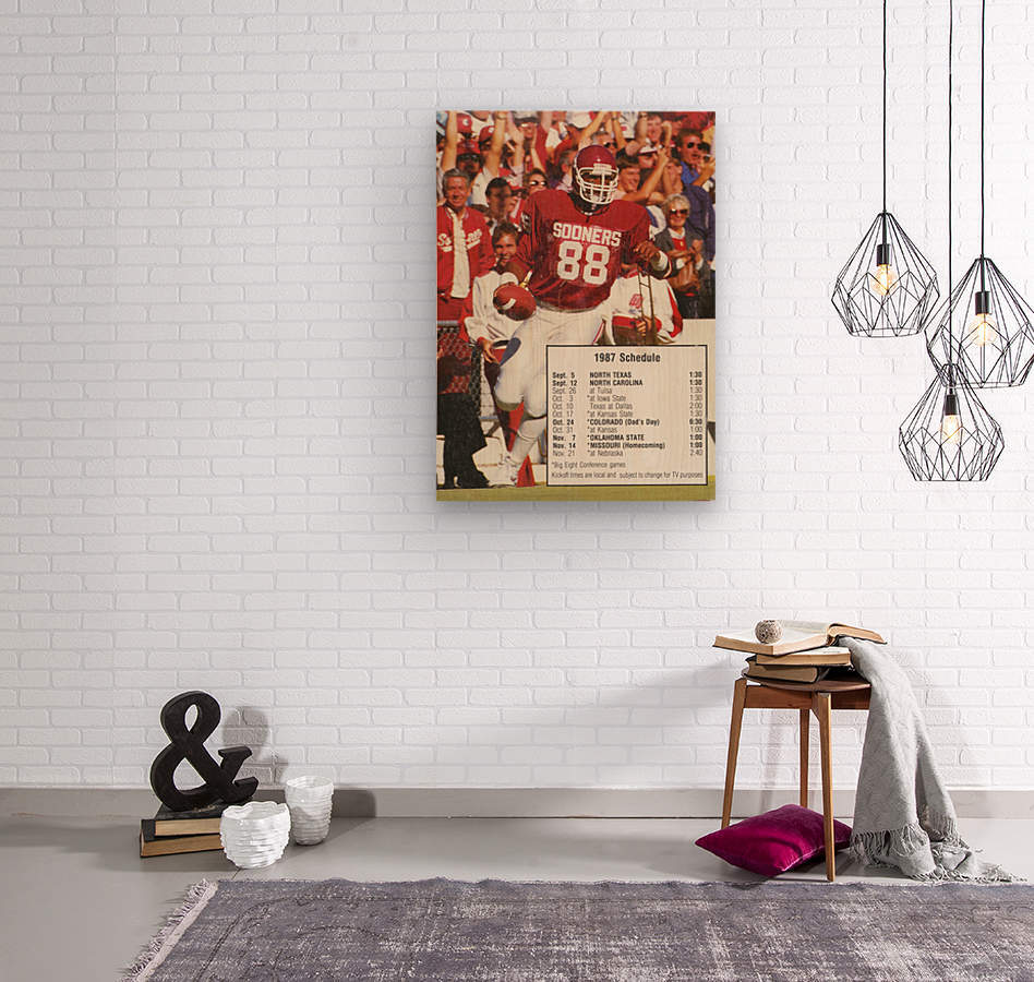 1987 oklahoma sooners football schedule poster  Wood print