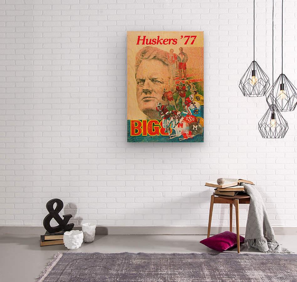 1977 nebraska cornhuskers tom osborne big 8 college football poster  Wood print