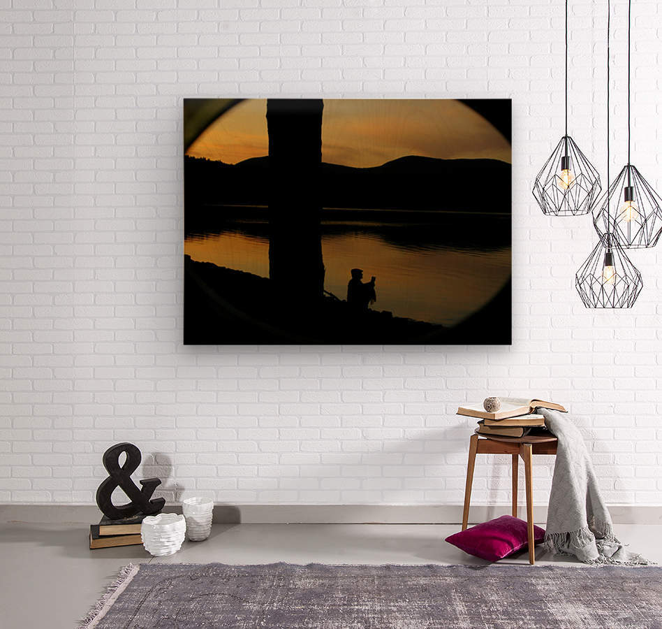contemplation at waters edge  Wood print