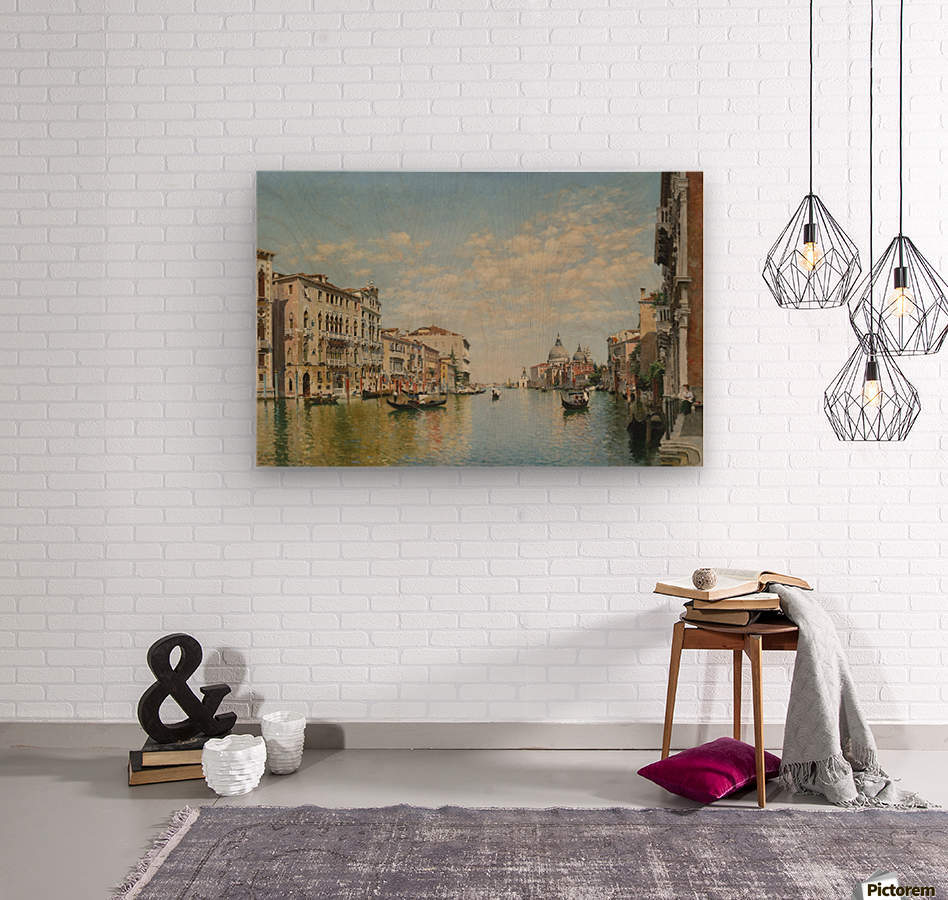 Gondoliers on The Grand Canal in Venice  Wood print