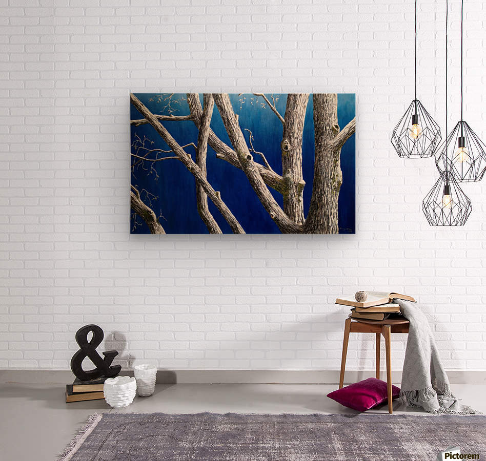 Trees at Dusk  Wood print