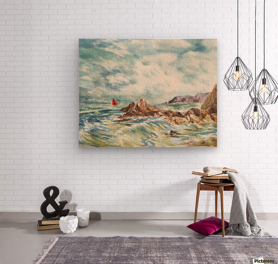 Red Sails At The Shore  Wood print