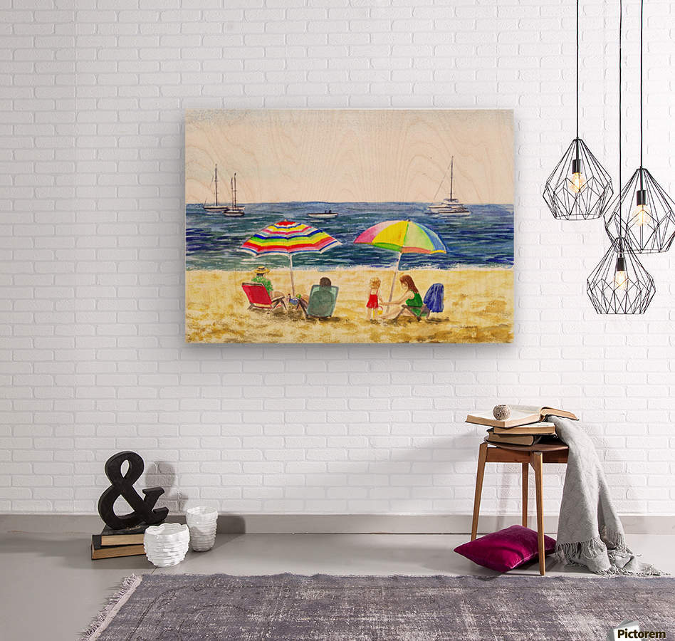 Two Umbrellas On The Beach  Wood print