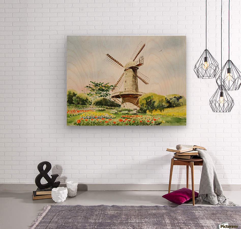 Dutch Windmill in San Francisco   Wood print