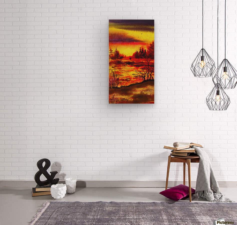 Bright Sunset At The Lake  Wood print