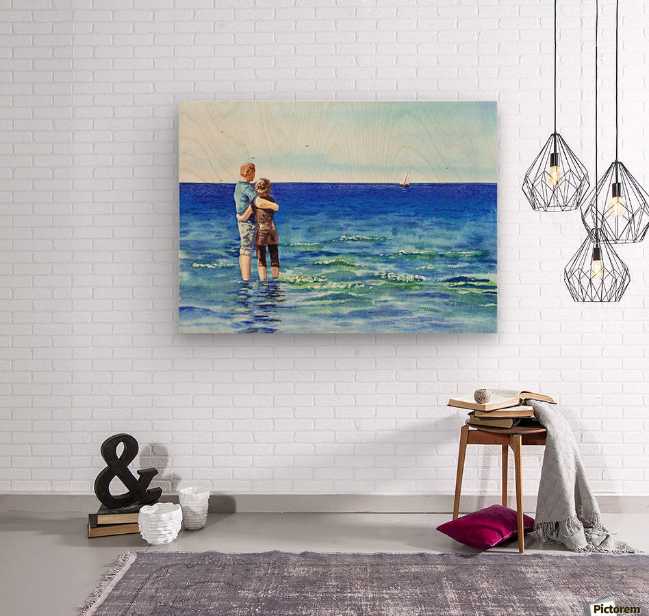 Couple And The Sea  Wood print