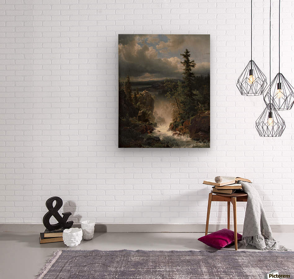 Landscape with a creek  Wood print