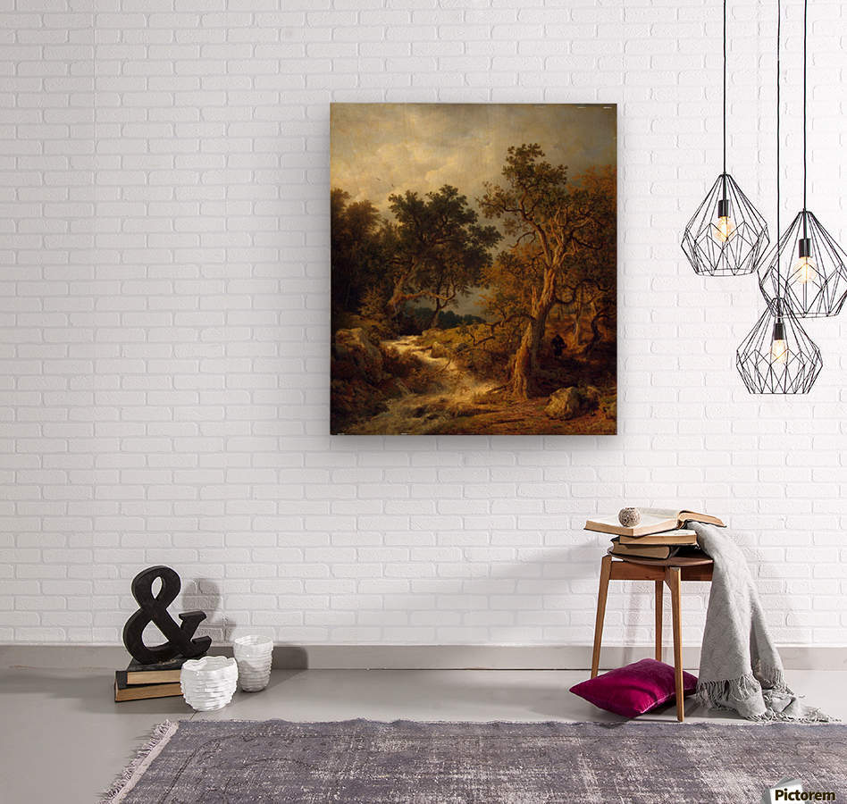 Landscape with a Stream  Wood print