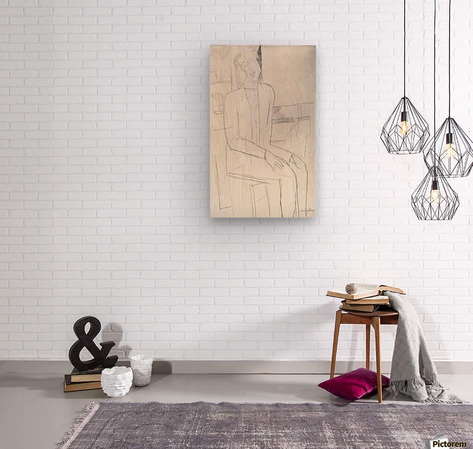 Modigliani - Sitting man  Wood print