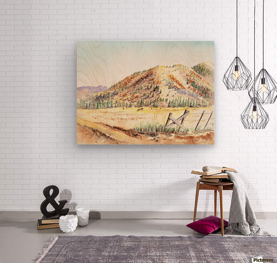 Landscape With Mountains Ranch And Cows  Wood print