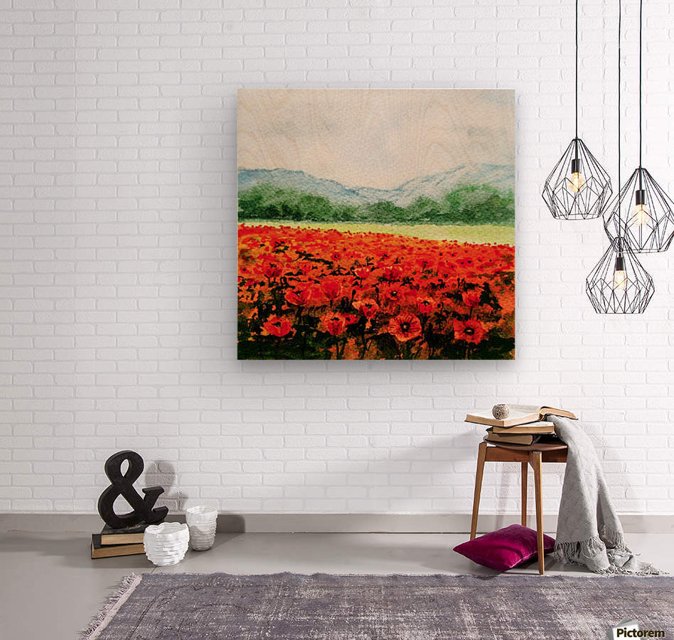 Red Poppies Field  Wood print