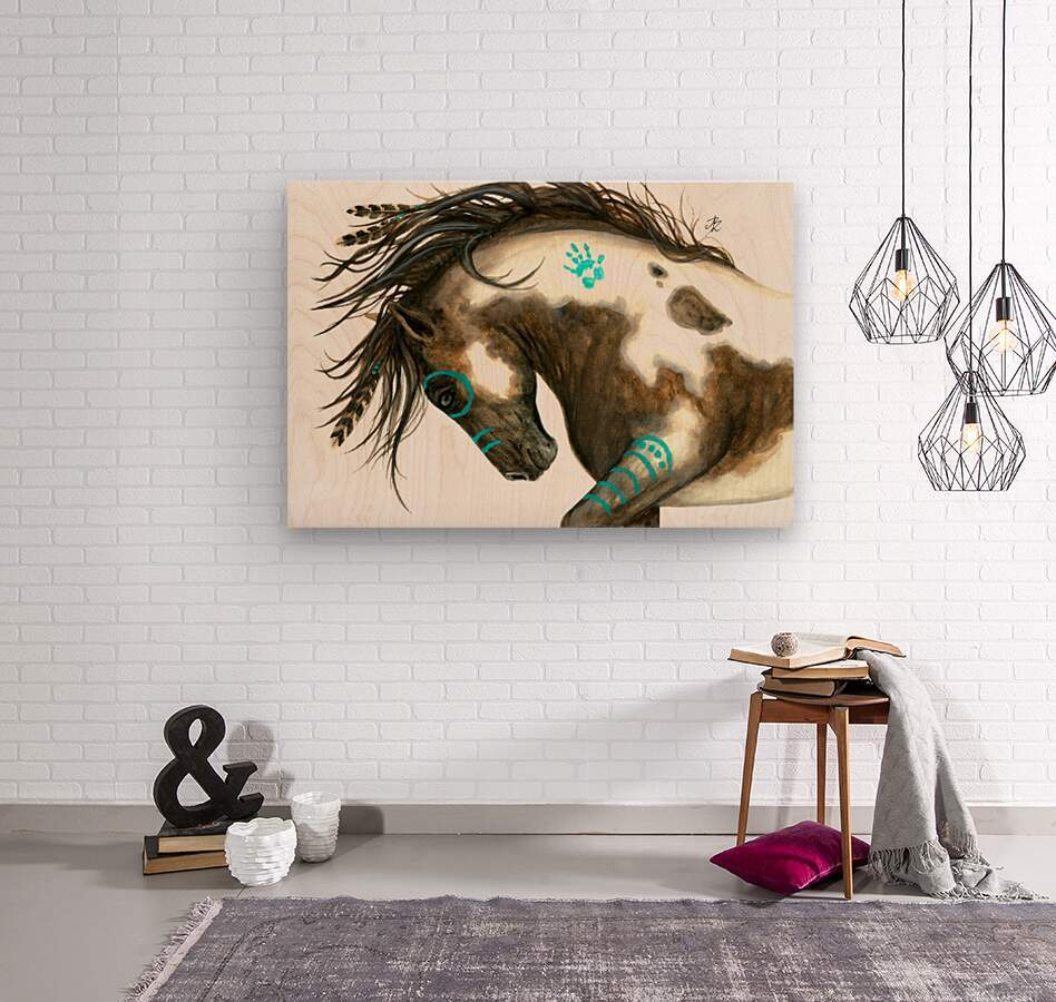 Pinto Horse Turquoise   Wood print