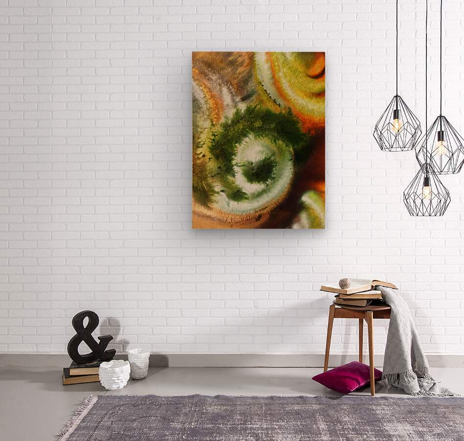 Fall Vortex Of Green Yellow Orange And Brown Abstract Watercolor   Wood print