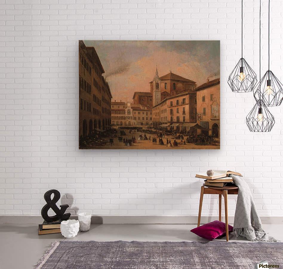 Piazza della Vittoria a Pavia olio su tela  Wood print