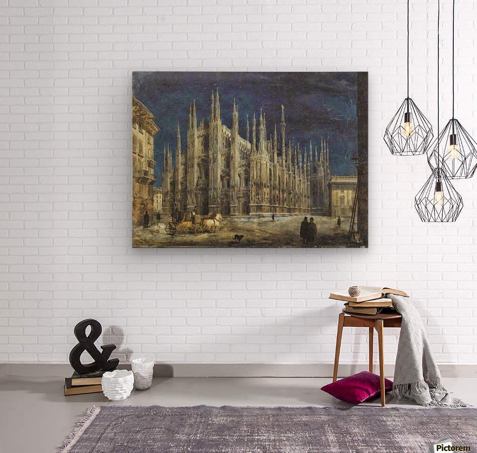 Night view of Piazza del Duomo in Milan  Wood print