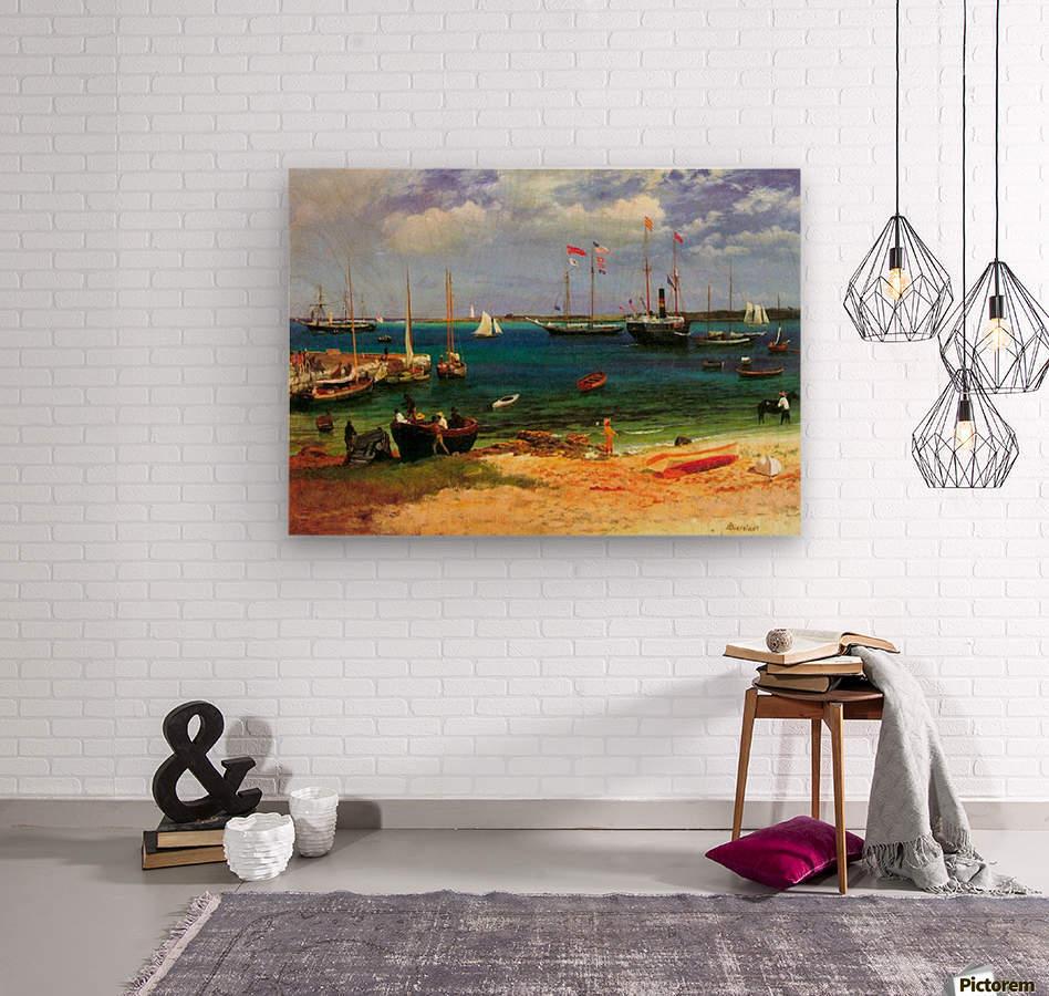 Nassau port by Bierstadt  Wood print
