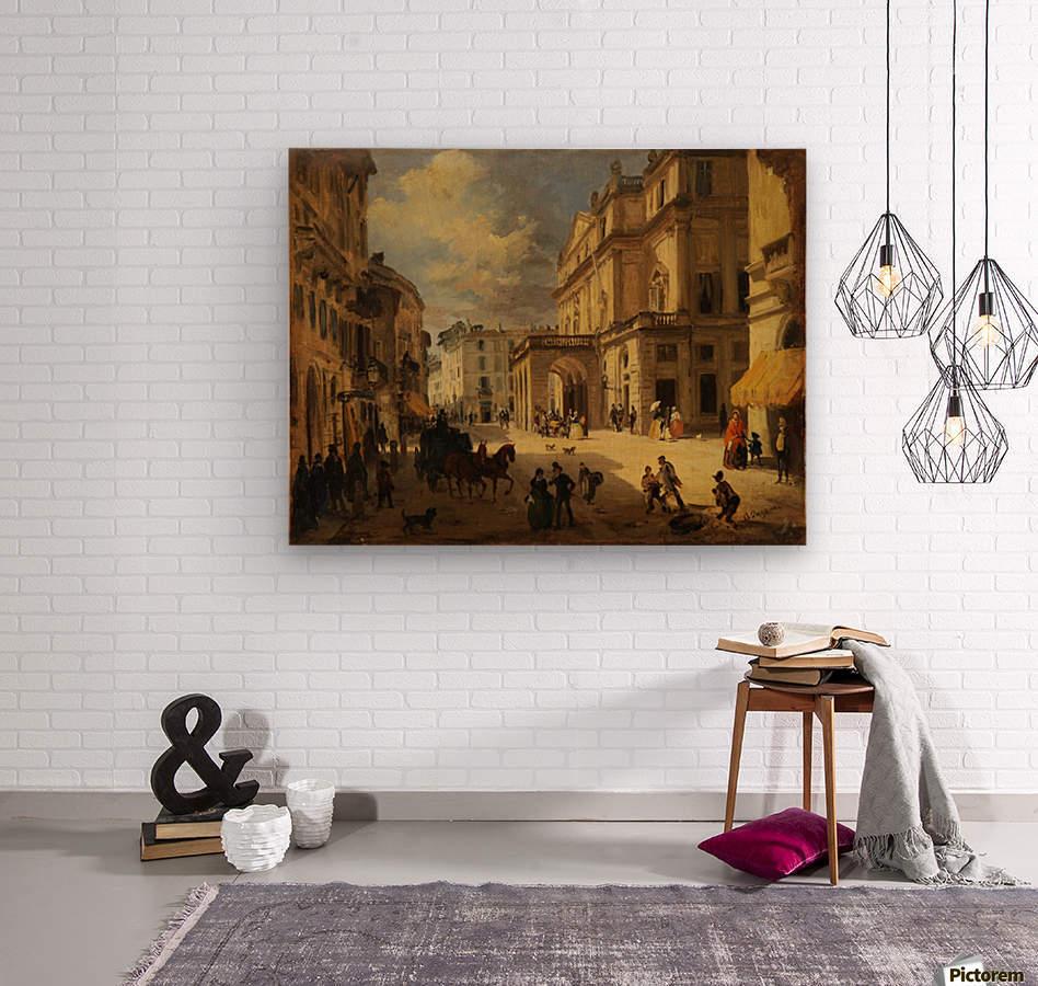 View of the Teatro alla Scala from Giardino lane  Wood print