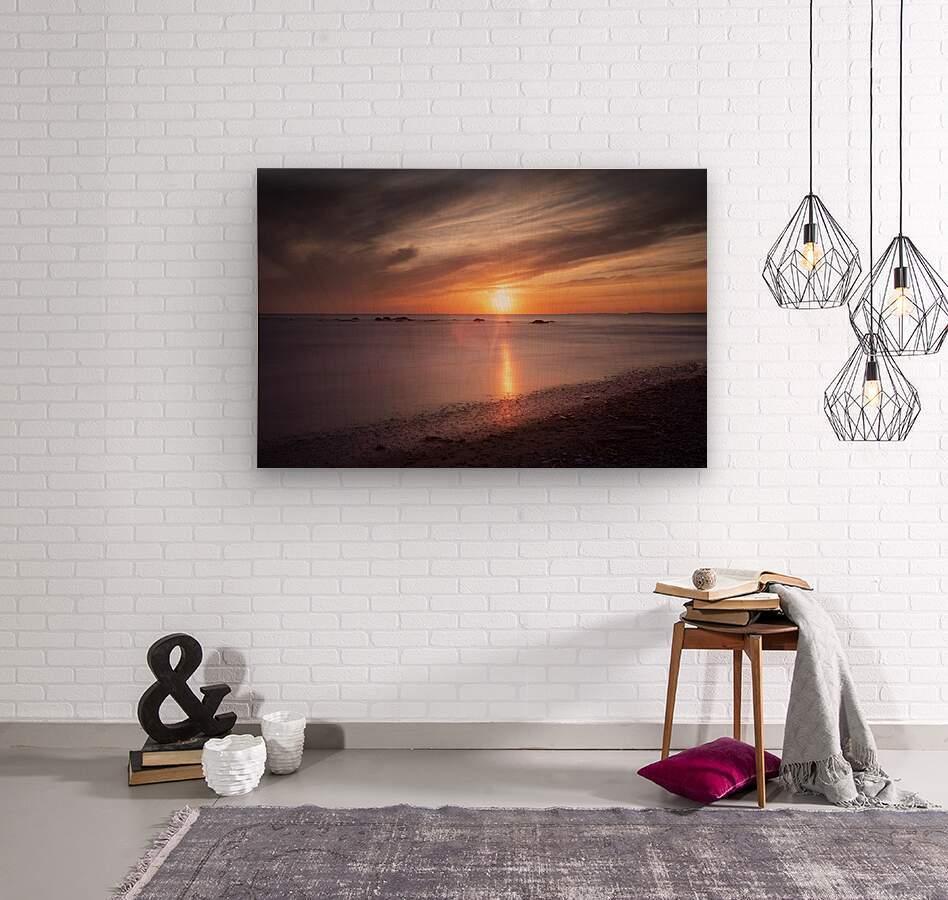 Sker Beach sunset  Wood print