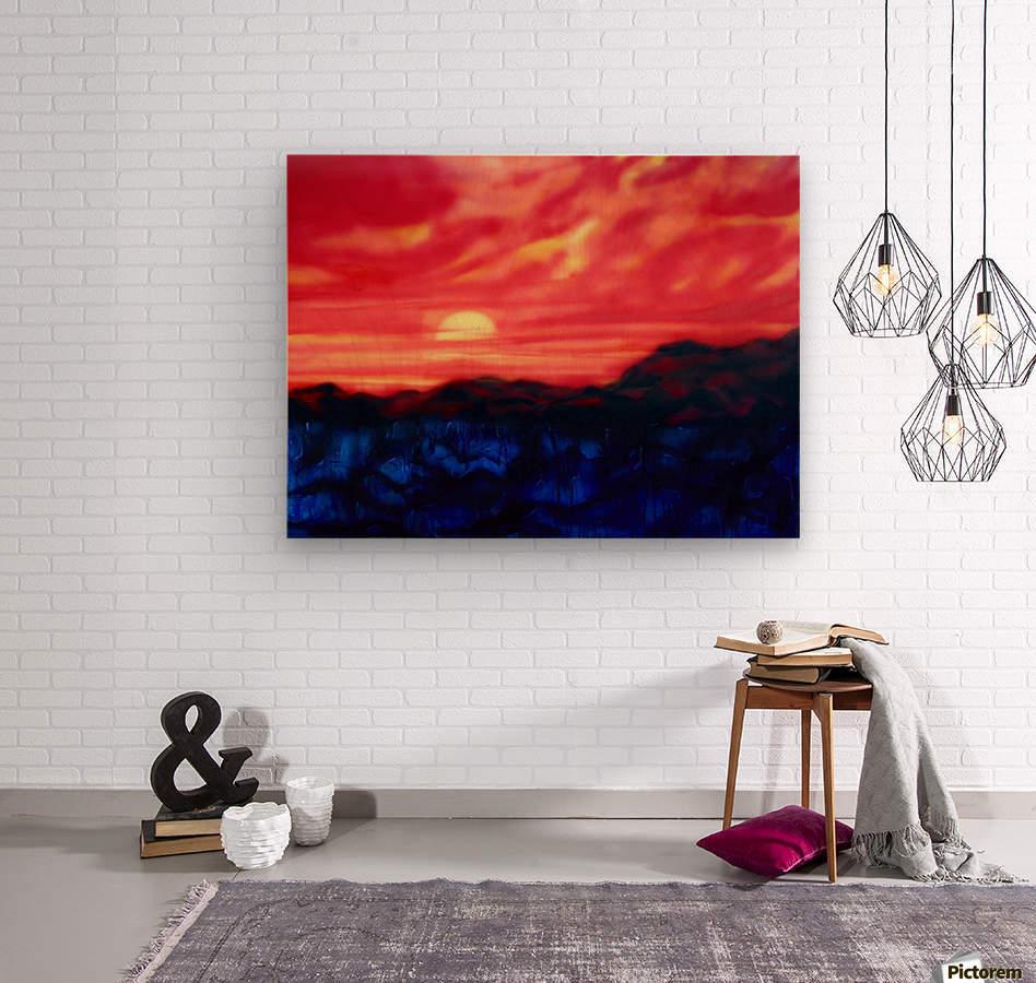 Fire Sunset  Wood print