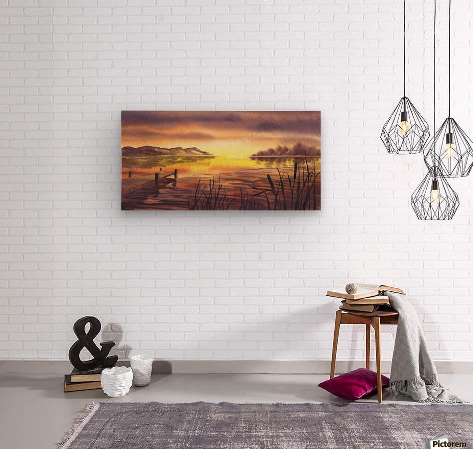 Peaceful Sunset At The Lake  Wood print