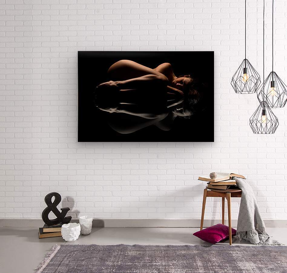 nude_woman_fine_art_laying_down_naked  Wood print
