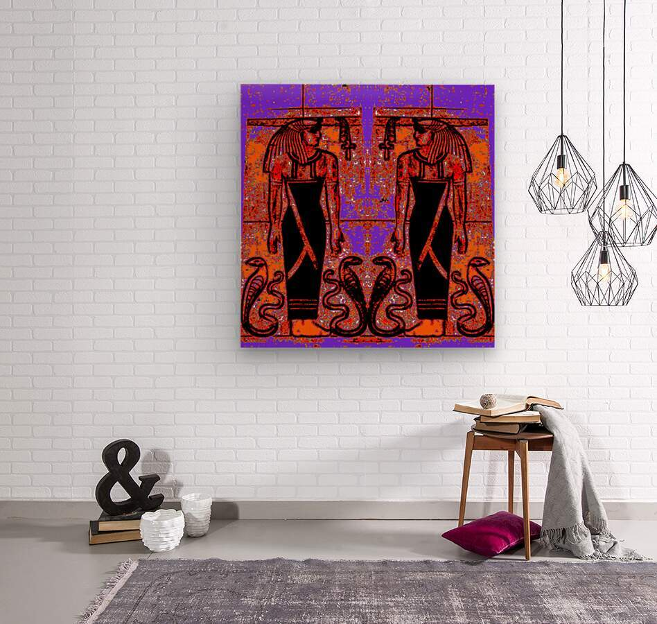 Egyptian Priests And Snakes In Garden 1  Wood print