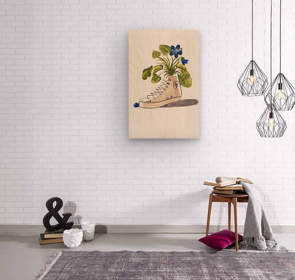 Chucks and Flowers   Wood print