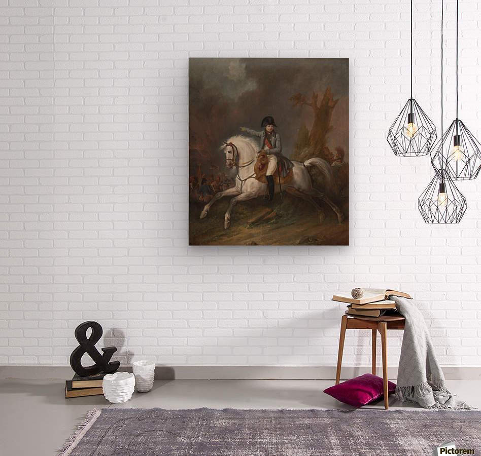 Un portrait equestre de l'empereur Napoleon avec une bataille au dela  Wood print