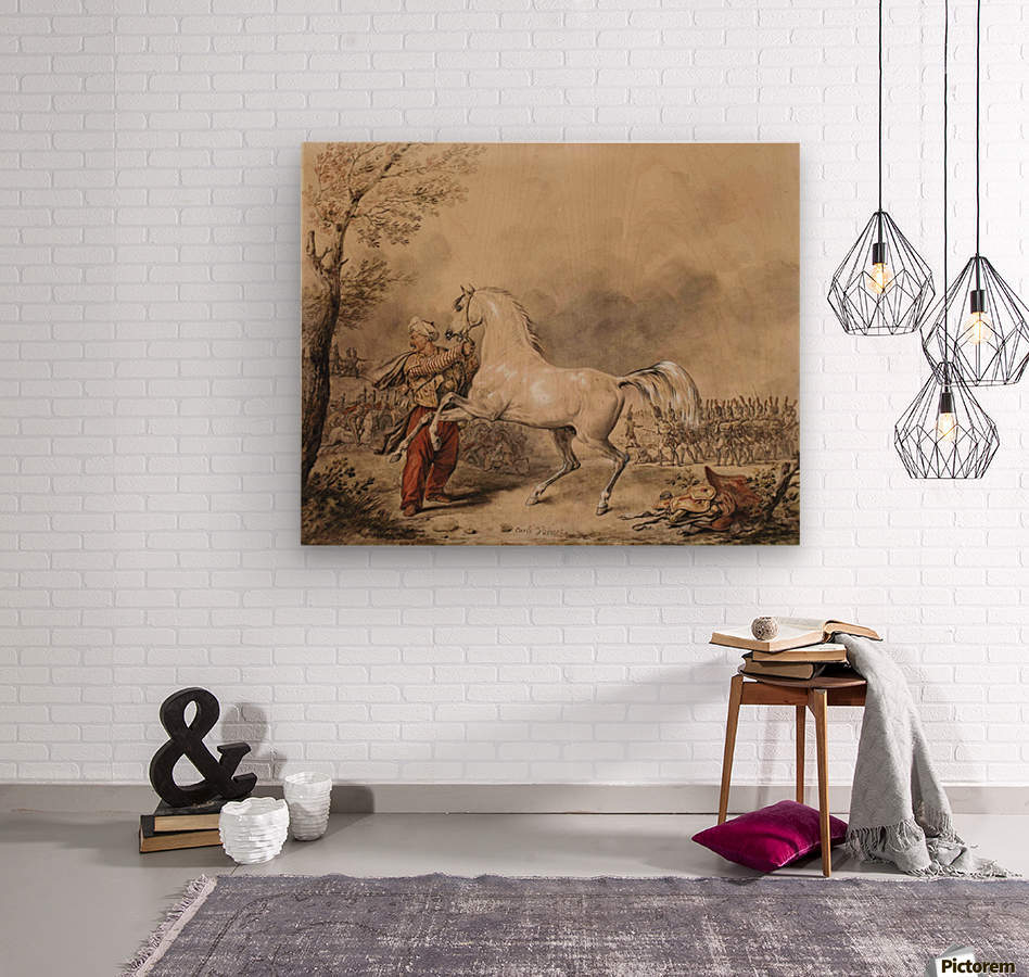 Oriental soldier and his horse  Wood print