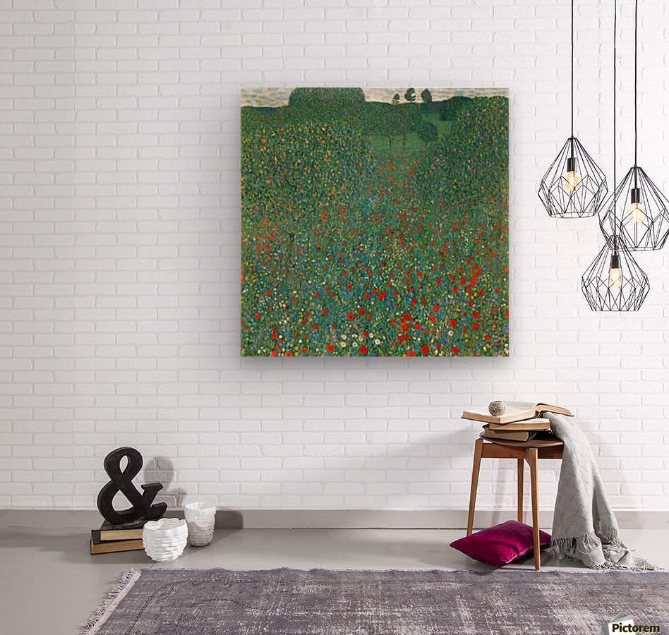 Poppy Field by Klimt  Wood print