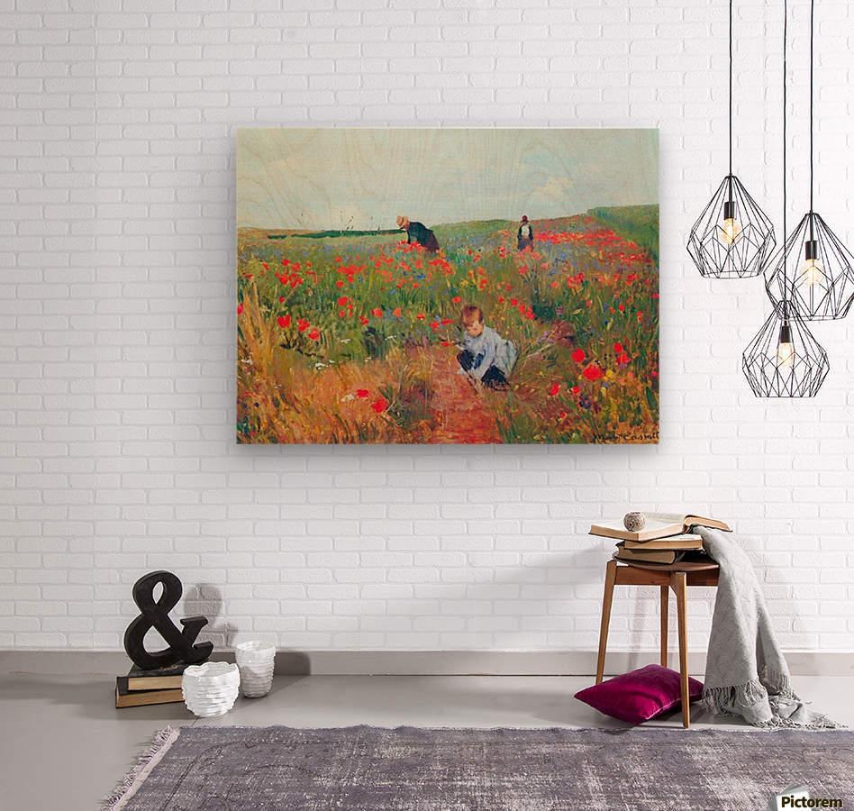 Poppy in the field by Cassatt  Wood print