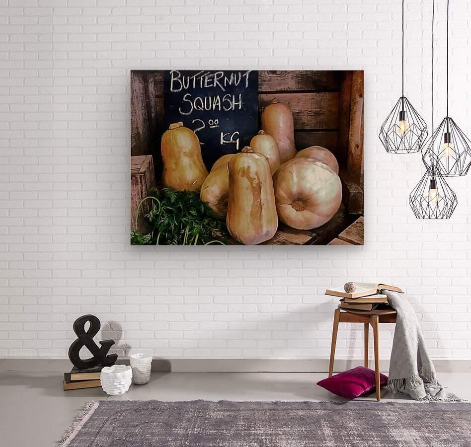 Butternut Squash Sale Display  Wood print