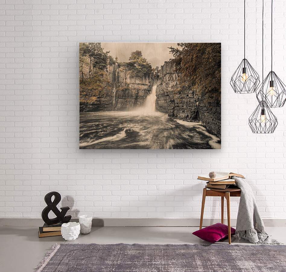 High Force waterfall, North Pennines, Yorkshire, UK  Wood print