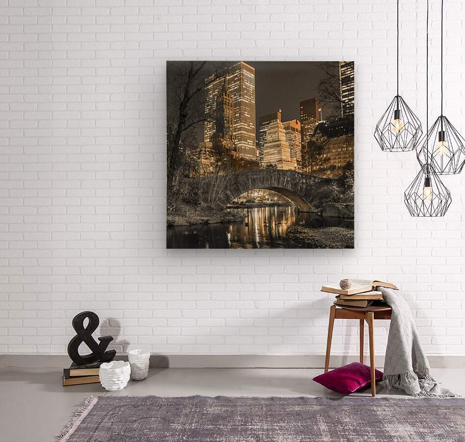 Evening view of Central Park in New York City  Wood print