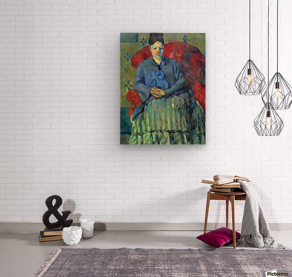 Potrait of Mme Cezanne in Red Armchair by Cezanne  Wood print