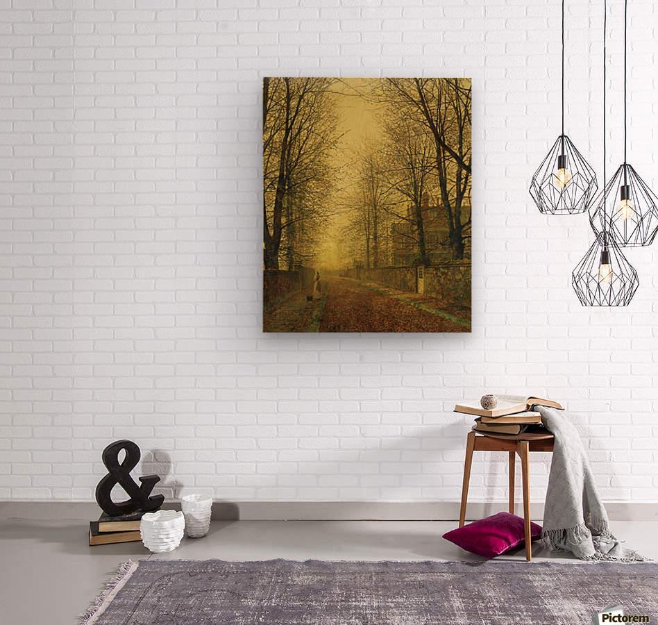 Lady within autumn glow  Wood print