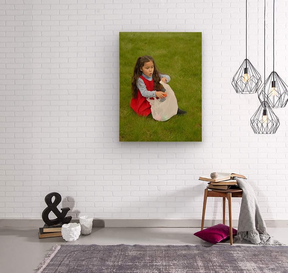 Easter Egg Hunt Girl  Wood print