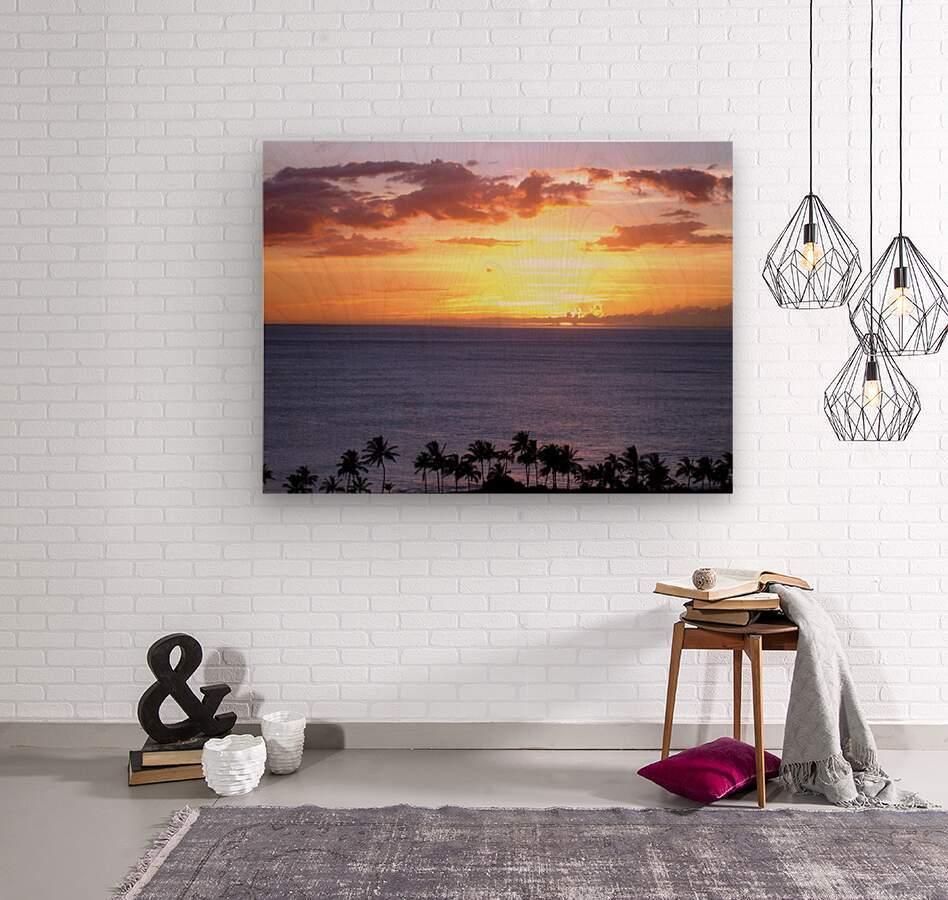 Golden Hawaii  Wood print