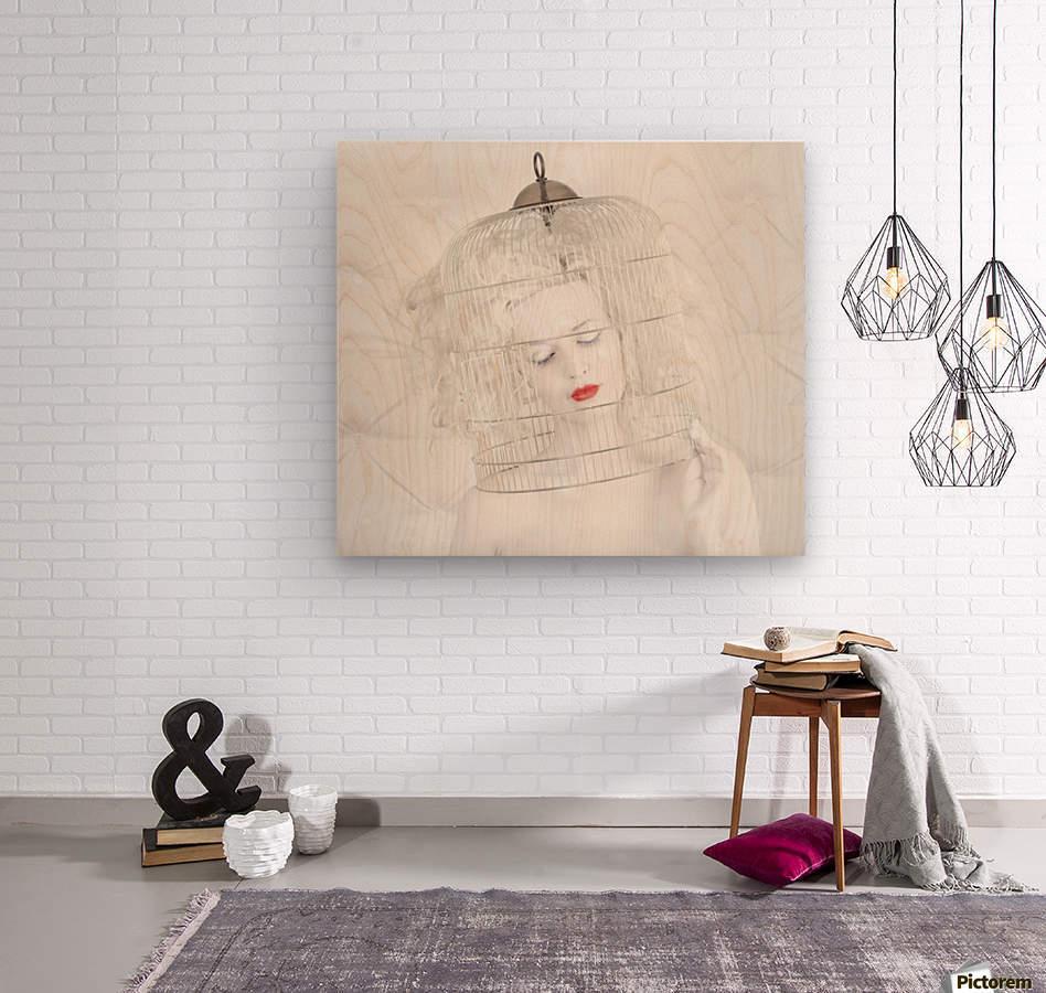 birdcage love  Wood print