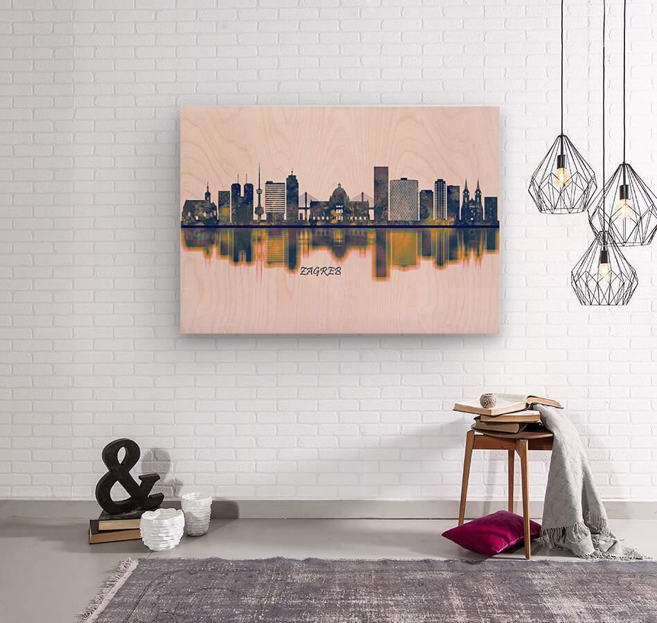 Zagreb Skyline  Wood print