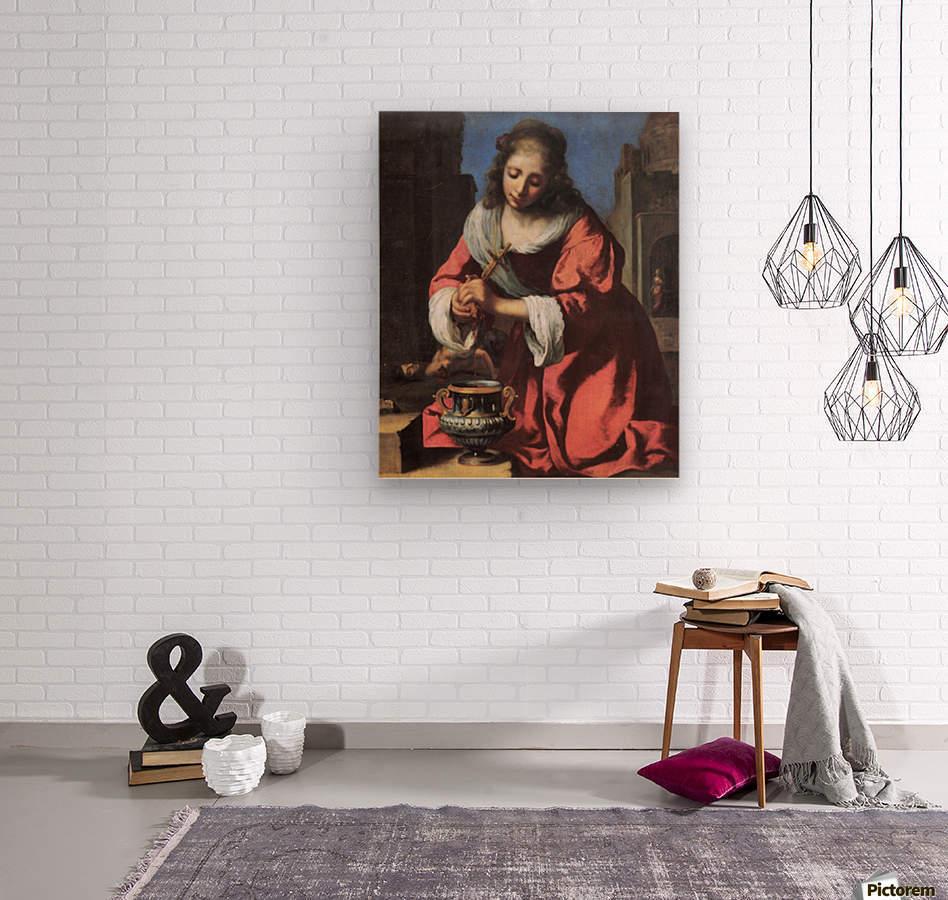 Saint Praxedis by Vermeer  Wood print