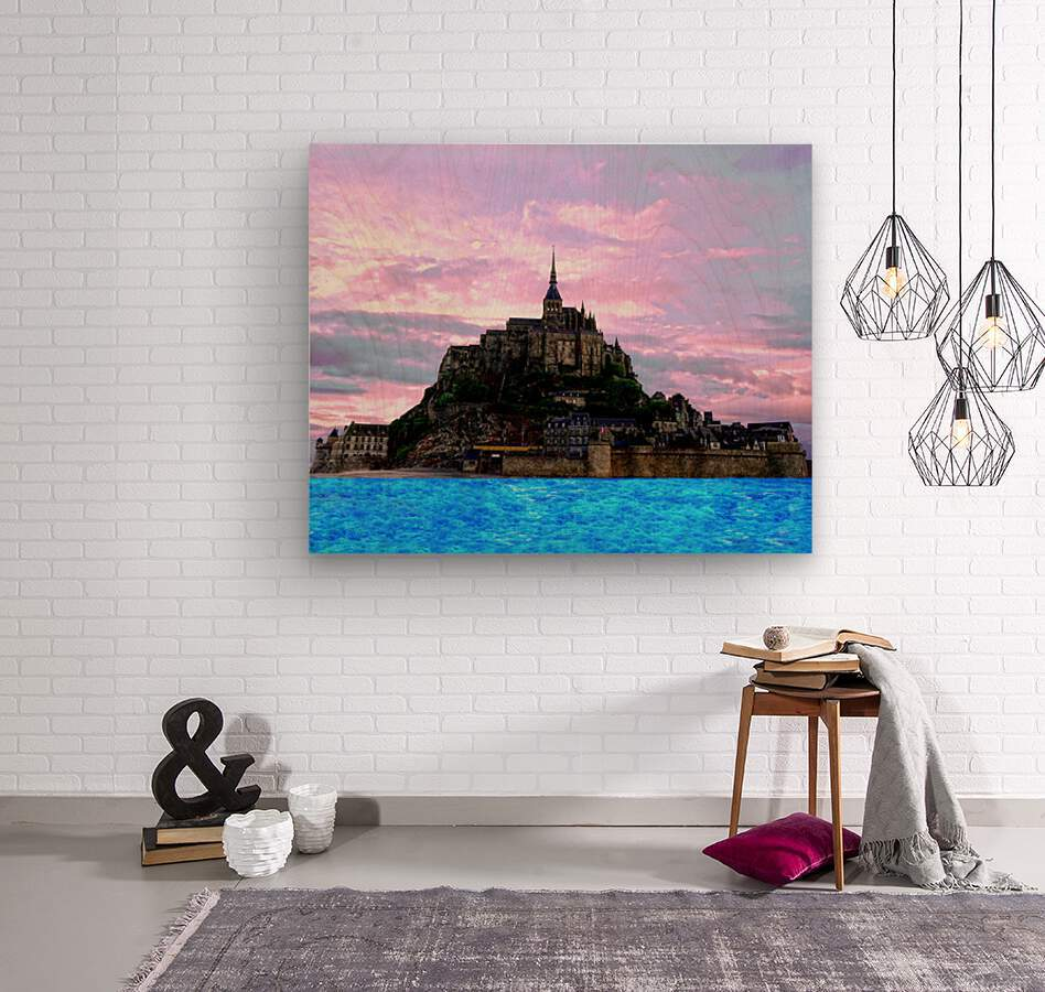 Mont St Michel at Sunset - France  Wood print