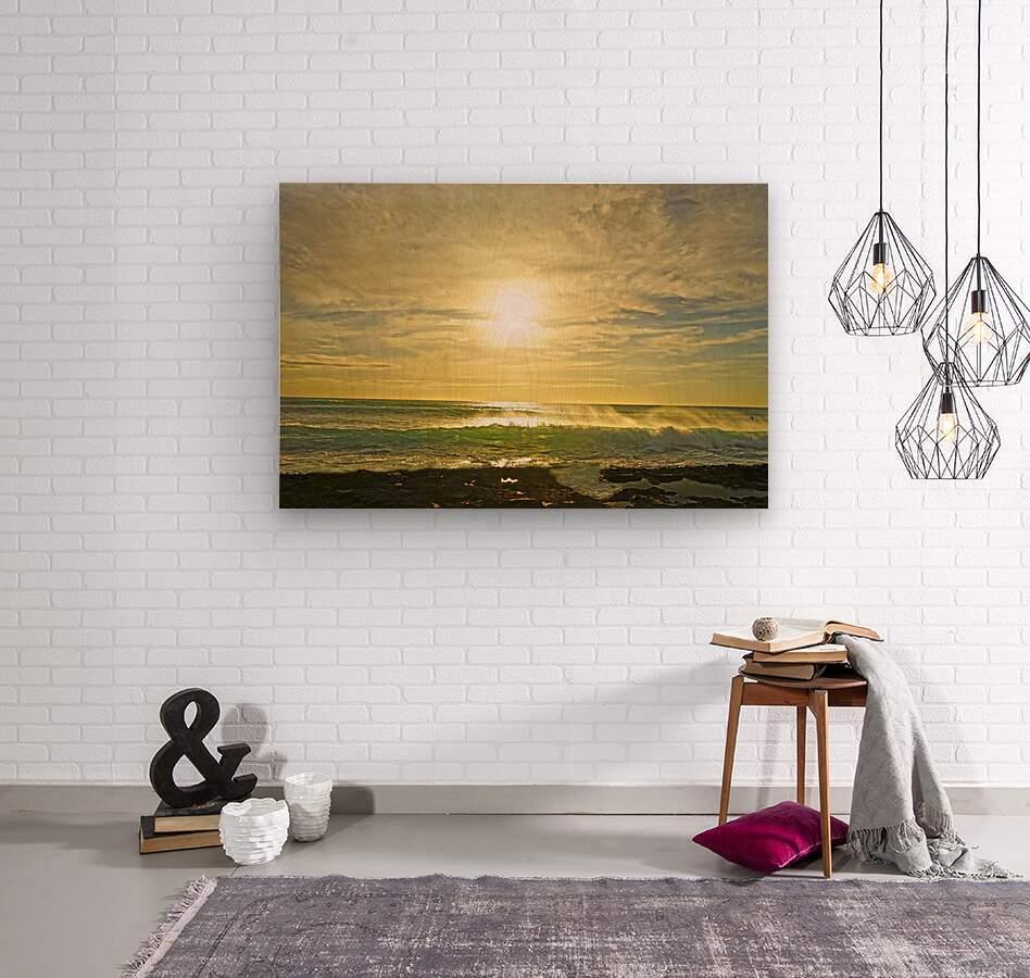 Splash - Sunset Hawaii  Wood print