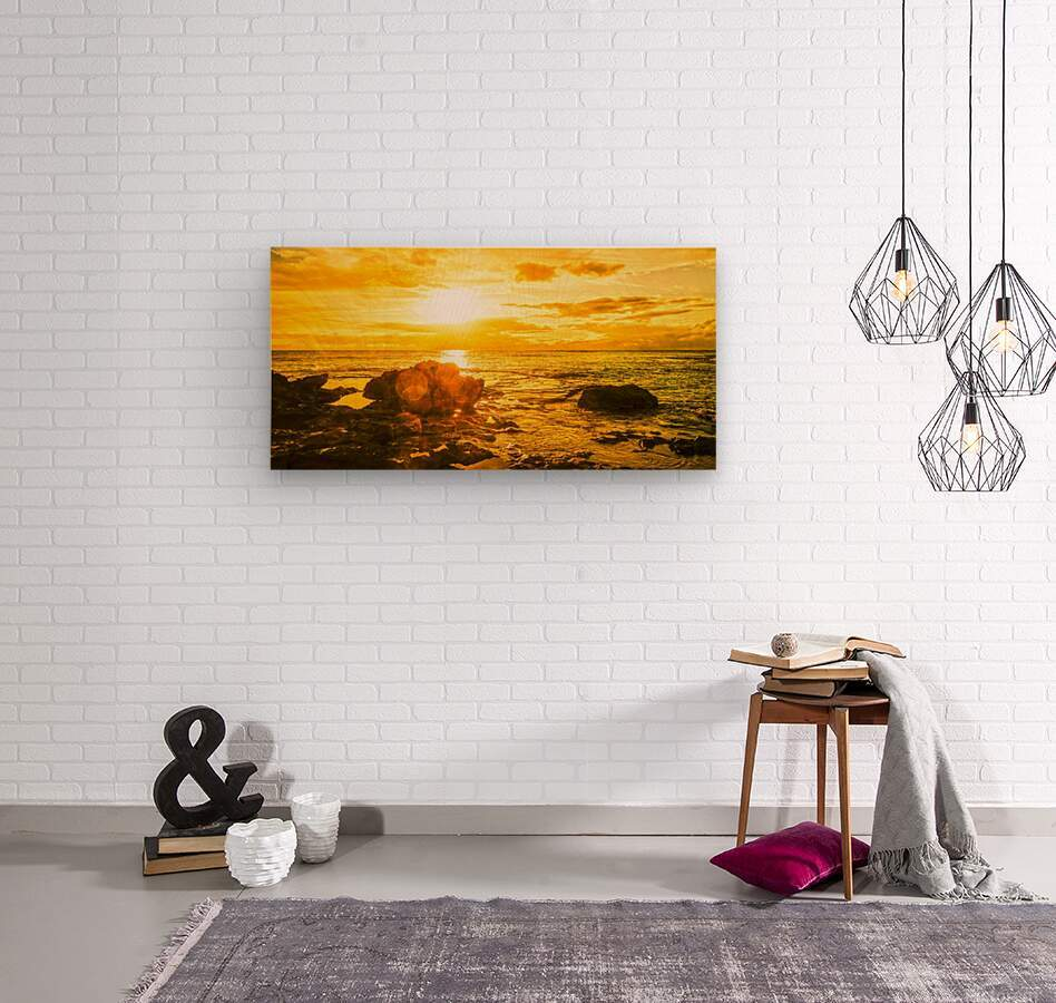 Majestic Sunset Panorama - Sunset Hawaiian Islands  Wood print
