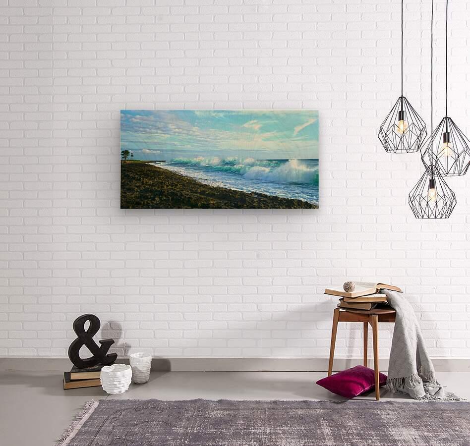 Blue Day Panorama  Wood print