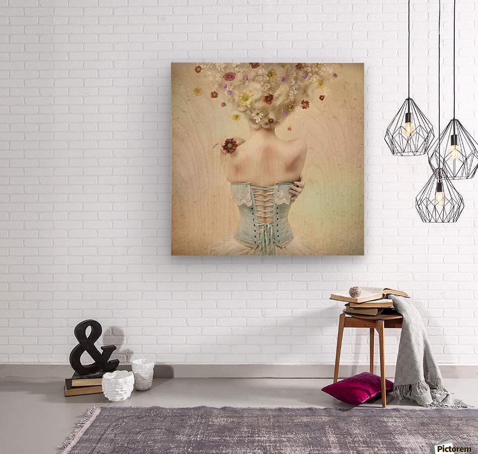 Girl of the flower garden  Wood print